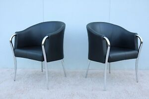 Art Deco Style Italian Black Leather And Chrome Accent Club Chairs A Pair