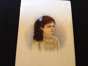 Hand Painted Portrait Of Young Girl On Porcelain