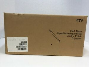 Case Of 200 New Fisherbrand 25ml Disposable Serological Pipette Model 13 678 11