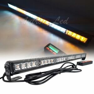 35in 32 Led Traffic Advisor Warning Emergency Beacon Strobe Lightbar Amber White