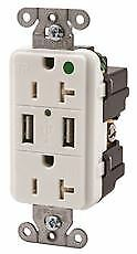 Hubbell Tamper Resistant Hospital Grade Usb Charger Duplex Receptacle 15 Amp W