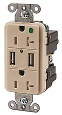 Hubbell Tamper Resistant Hospital Grade Usb Charger Duplex Receptacle 20 Amp L