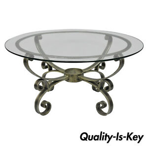 Vintage Scrolling Iron Round Glass Top Hollywood Regency Silver Coffee Table
