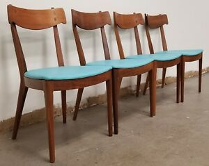 Mid Century Modern Drexel Declaration By Kipp Stewart Walnut Dining Chairs