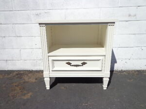 Nightstand Bedside Table Vintage Accent Regency Glam French Provincial White