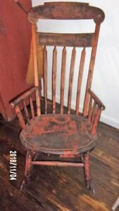 Early 18th C Windsor Rocker Original Old Salmon Black Paint Mass Aafa