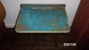 Early Antique Primitive 19th Ca School Desk Old Dry Blue Paint Aafa