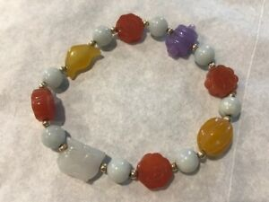 Multi Color Carved Jade Semi Precious Stones And Silver Beaded Bracelet