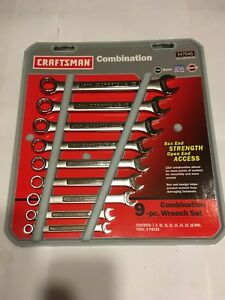 Nos Craftsman Usa Made 9 Pc Metric 12 Point Combination Wrench Set 9 47045