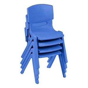 Sprogs Colorful Plastic Preschool Stack Chair 13 1 2 Seat Height Blue Pack 4