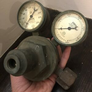 Antique Victor Acetylene Regulator And Gauges Brass Steampunk Industrial Rustic