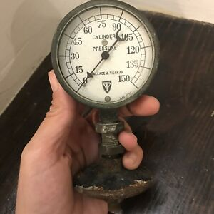 Antique Wallace Tiernan Cylinder Pressure Gauge Brass Cool Reduction Fitting
