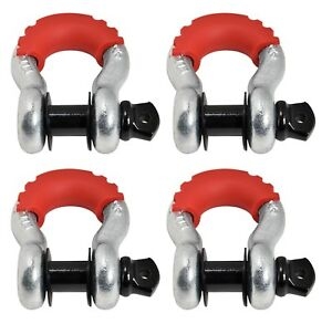 4 3 4 Bow Shackle D Ring Black Pin 10500 Red Noise Vibration Reducer Jeep Cj