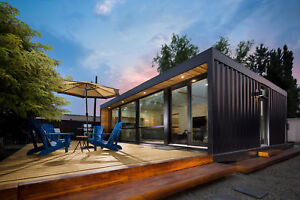 2x 40ft Prefab Home Container Cottage Cabin Startup Housing With Hydraulic Deck