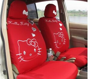Universal Hello Kitty Car Seat Covers Front Rear Cover Accessory Set 10 Pcs