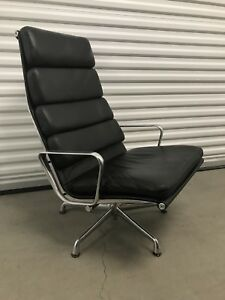 Herman Miller Eames Soft Pad Lounge Chair 4 Cushion Black Leather Aluminum