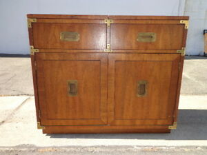 Campaign Dry Bar Chest Vintage Buffet Server Campaign Dresser Storage Wood Table