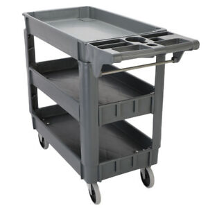 550 Lb Load Plastic Utility Service Cart 3 Shelves Rolling Tool Portable Trolley