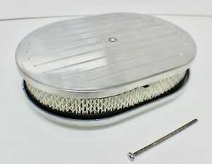 Hot Rod 12 Inch Oval Ball Milled Aluminium Air Cleaner Element Suit 4 Barrel