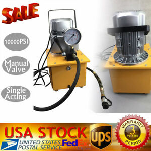 Electric Driven Hydraulic Pump 10000psi Single Acting 110v 750w 7l Oil Capacity