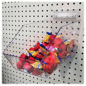 10 Clear Large Pegboard Acrylic Bin With Peg Adapter 6 L X 5 5 H X 11 5 D