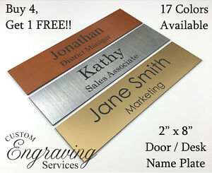 Name Plate For Office Desk Or Door 2 x8 Sign Plaque Personalization Engraved