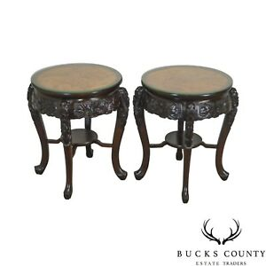 Lord Co Yokohama Japan Vintage Pair Of Round Carved Asian Side Tables