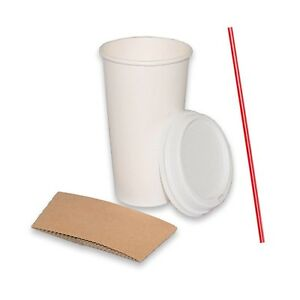 100 Sets 20 Oz Paper Coffee Cups With Dome Lids And Sleeves Bonus Stirrers