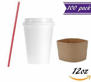 100 Sets 12 Oz Papers Coffee Cups With Dome Lids And Sleeves Bonus Stirrers