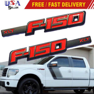 L R Ford F 150 Xlt Front Side Fender Emblem Matte Red Black Abs Badge Nameplate