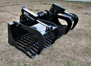 Mtl Attachments Rk x 72 Skid Steer Rock Grapple Bucket Twin Cylinder 169 Ship