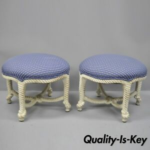 Italian Hollywood Regency Rope Knot Carved Wood Pair Stools Napoleon Iii