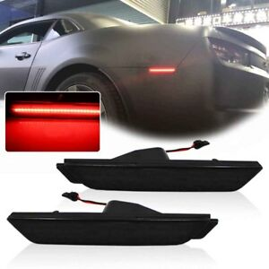 2x Smoked Black Lens Red Led For 2010 2015 Chevy Camaro Rear Side Marker Lights