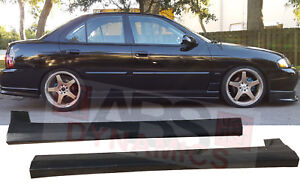 Rs Style Side Skirt Set For 2002 2006 Nissan Sentra Unpainted Black Plastic