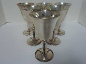 6 Vintage Homan Plate Chalice Goblets Nickel Silver W M Mounts 01159