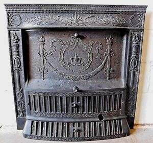 1800s Metal Fireplace Surround With Summer Cover Grates Victorian Style Ornate