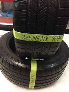 2 Used Tires 245 45 18 Good Year Ls2 Run Flats Oem Bmw With 75 Tread Life