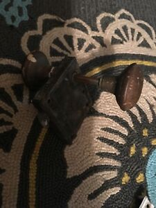 Vintage Antique Box Door Lock Set Victorian Surface Lock Knob