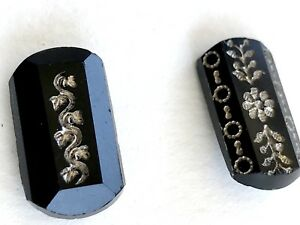 Victorian Era Black Glass Buttons Gold Silver Etched Design
