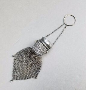 Whiting Davis Mesh Doll Purse Sterling Silver Finger Ring Antique Victorian