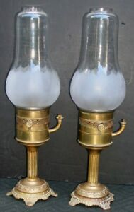 Pair Antique French Bec Oil Hurricane Mantle Lamp Frost Pear Shade Mv Burner 25