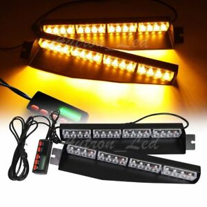 34 Amber 32w Led Emergency Warning 18 Modes Strobe Visor Deck Split Light Bar Y