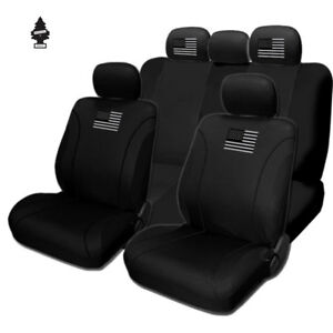 For Jeep New American Flag Black Fabric Car Truck Suv Seat Covers Gift Set