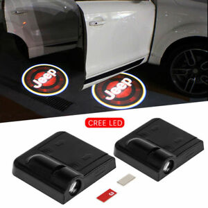 2 Pcs Wireless Easy Install Car Logo Door Ghost Shadow Projector Light For Jeep