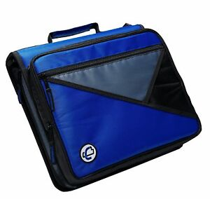 Case it Universal 2 inch 3 ring Zipper Binder Holds 13 Inch Laptop Blue Lt