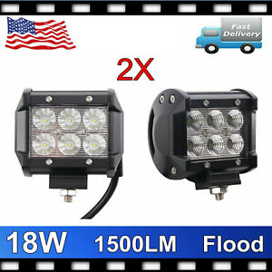 2x 4 18w Cree Led Work Light Bar Spot Offroad 4wd Fog Atv Driving Lamps 1500lm