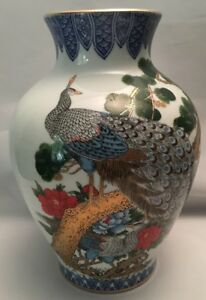 Japanese 2 Peacocks Vase Rare Antique With Blue And Gold Accent Details