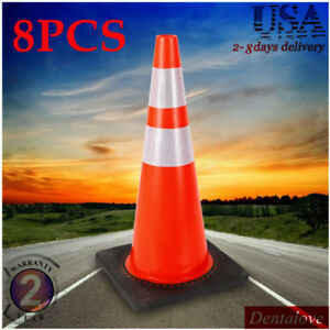 8pcs 28 Pvc Traffic Cones Road Parking Emergency Sport Training Safety Cones Us