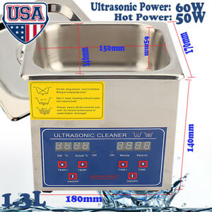 1 3l Stainless Steel Ultrasonic Cleaner Liter Heated Heater W timer Industry Lab