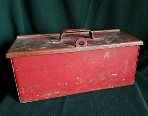 Vintage Heavy Metal Strong Lock Box Steampunk Industrial Tool Free Shipping